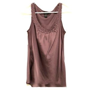 Silky slate gray tank with collar detail